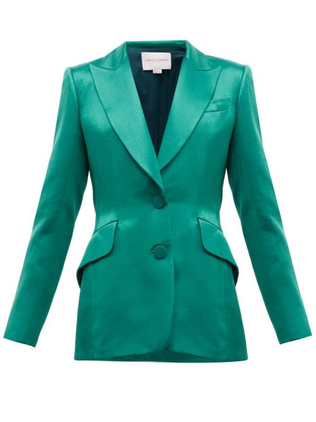 Carolina Herrera - Single Breasted Satin Jacket - Womens - Green