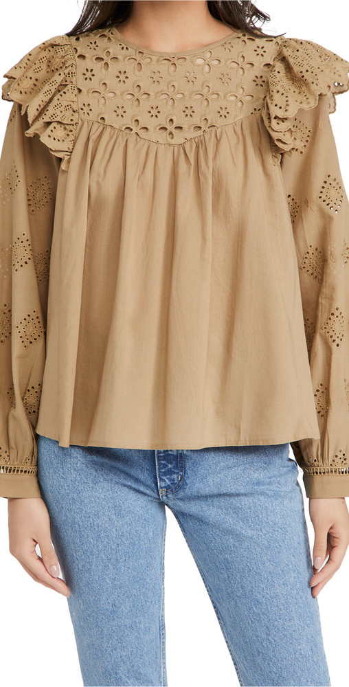 En Saison Eyelet Blouse in natural