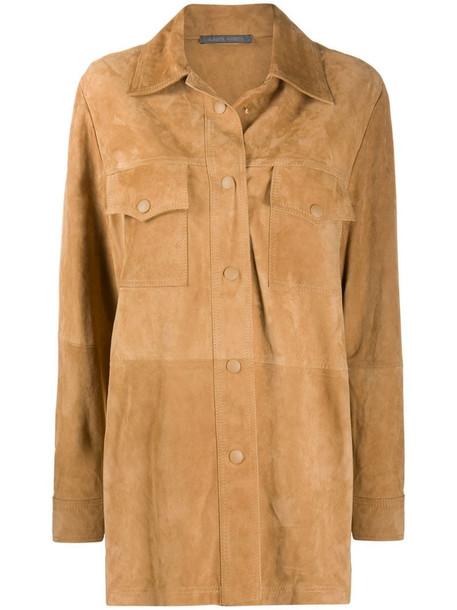 Alberta Ferretti panelled leather jacket in neutrals