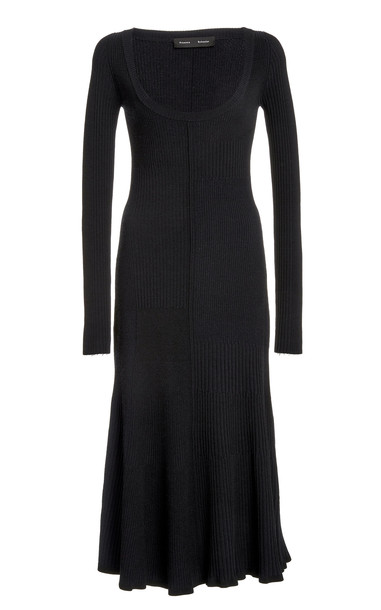 Proenza Schouler Patchwork Ribbed Knit Midi Dress in navy