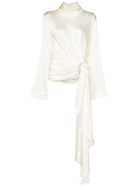 Solace London high neck draped top in white