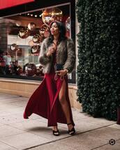 dress,maxi dress,slit dress,black sandals,black bag,faux fur coat,elegant dress,elegant