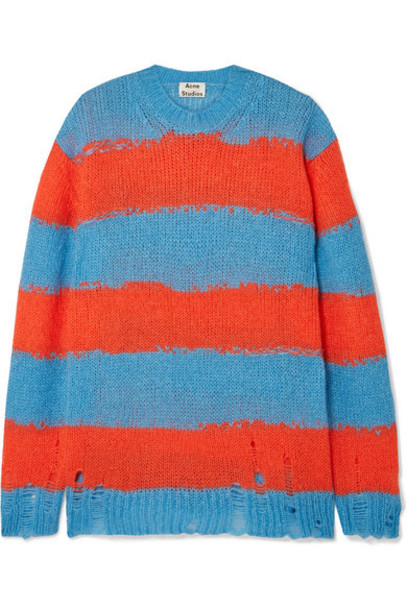 Acne Studios - Kantonia Distressed Striped Knitted Sweater - Blue