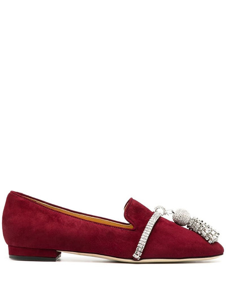 Giannico Louis bejewelled tassel loafers in red