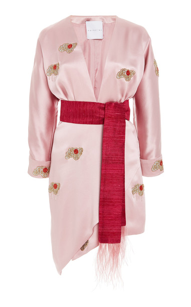 Markarian Exclusive Perseus Feather-Trimmed Embellished Silk-Satin Dress in pink