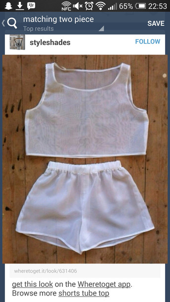 shorts white mesh two-piece summer mesh crop tops style cute trendy top