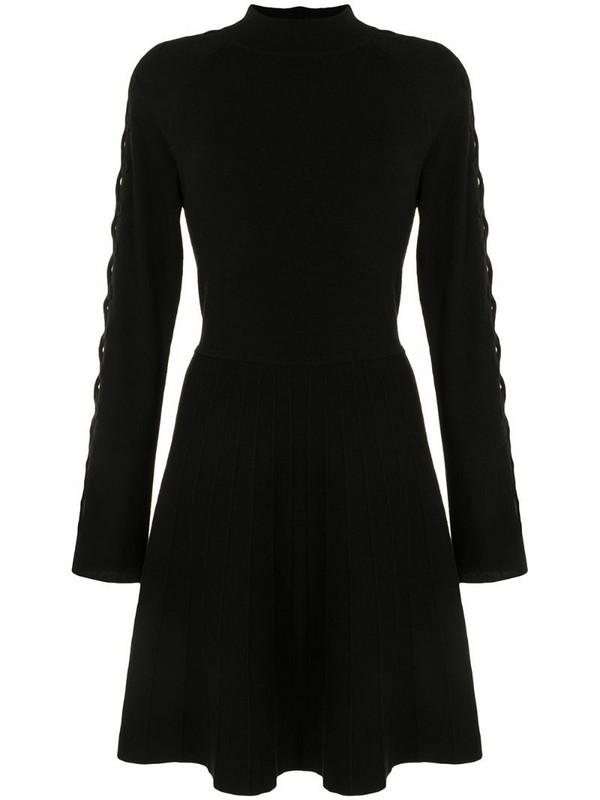 Lela Rose lattice-sleeve knitted dress in black
