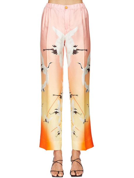 F.R.S. FOR RESTLESS SLEEPERS Heron Print Wide Leg Silk Twill Pants in pink / multi
