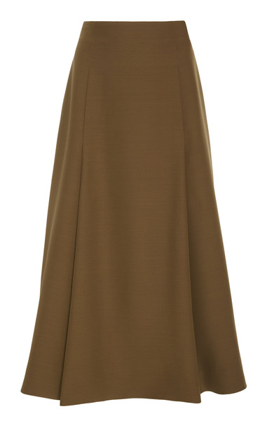 Partow Everly A-Line Crepe Midi Skirt in brown