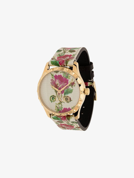 Gucci rose print gold plated watch