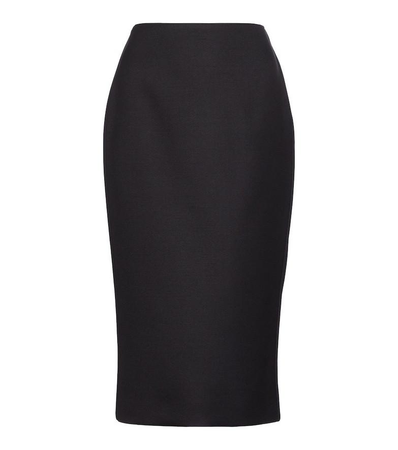 Fendi Wool and silk-blend pencil skirt in black