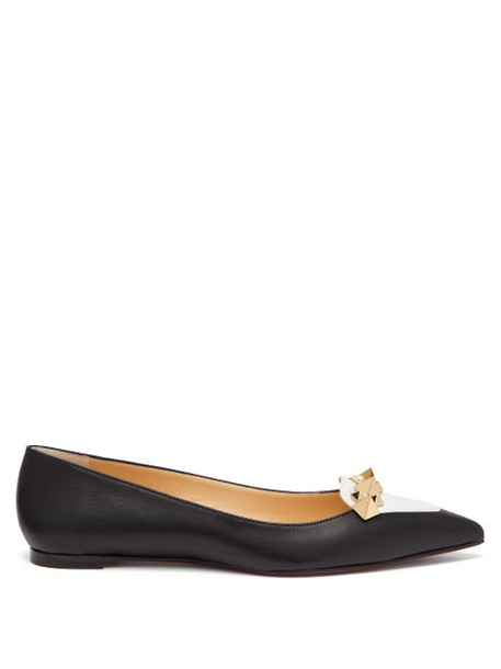 Christian Louboutin - Miss Constella Studded Point-toe Leather Flats - Womens - Black