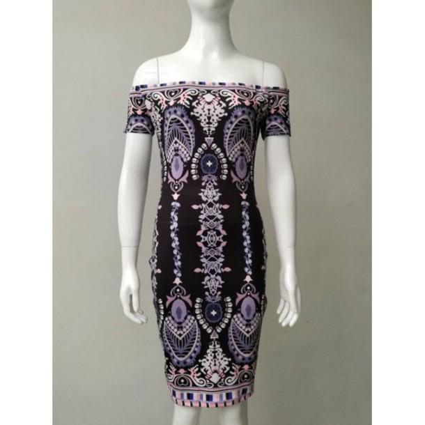 dress fashion style off the shoulder pattern trendy summer midi dress rosewholesale.com