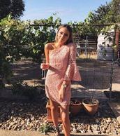 dress,mauve,one shoulder,mini,lace,detailing,cocktail dress,spring dress,summer