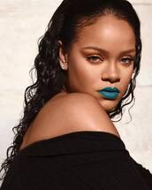 make-up,rihanna,celebrity,instagram,lipstick,lips,lip print,blue