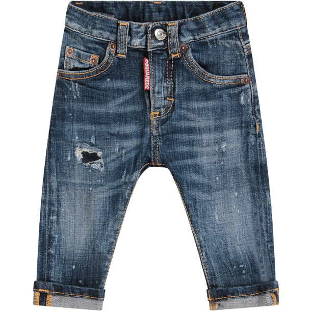 Dsquared2 Denim Light Blue Babyboy Jeans With Red Double Dd