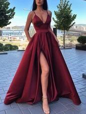 dress,red dress,red prom dress,high-slit dress