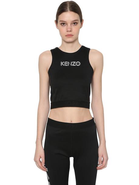 KENZO Logo Print Stretch Cotton Cropped Top in black