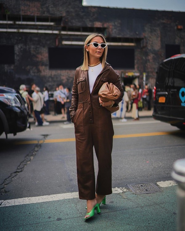 jumpsuit leather long sleeves sandal heels brown bag white t-shirt