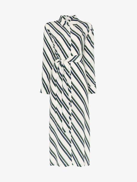 Asceno diagonal stripe print silk shirt dress