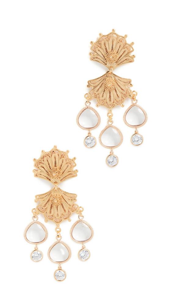 Mallarino Double Shell Earrings in gold
