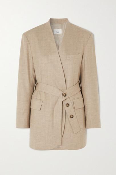 Frankie Shop - Belted Wool-blend Wrap Blazer - Beige