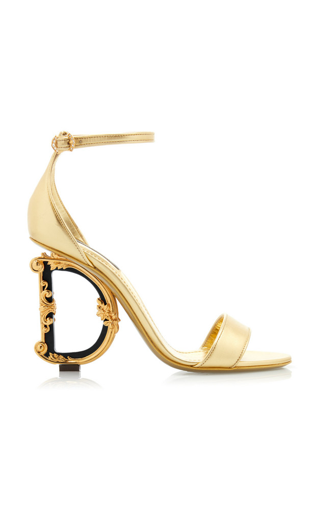 Dolce & Gabbana Logo-Embellished Leather Heeled Sandals in gold
