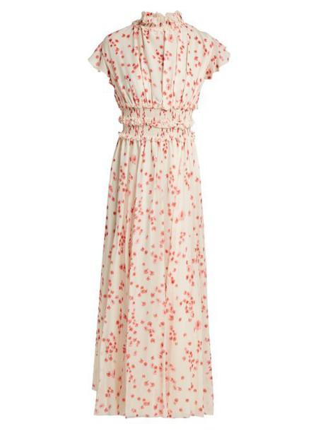 Giambattista Valli - Petal Print Ruffled Silk Chiffon Dress - Womens - White Multi