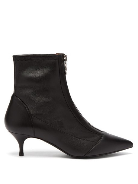 Tabitha Simmons - Zippy Point Toe Leather Ankle Boots - Womens - Black