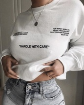 sweater,care,black,white,quote on it,jumper