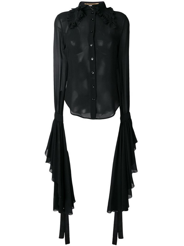 Saint Laurent sheer shirt with dramatic sleeves in black