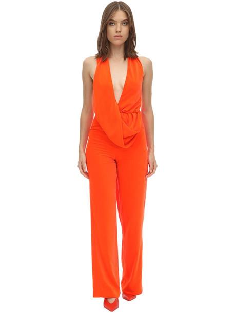 AREA Long Draped Velvet Jumpsuit in orange
