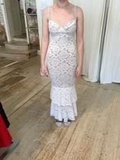 dress,white,tight,lace dress,mermaid prom dress