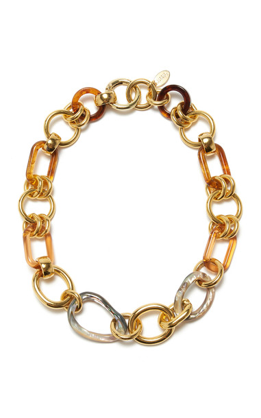 Lizzie Fortunato Abalone Chain Link Brass Necklace in multi
