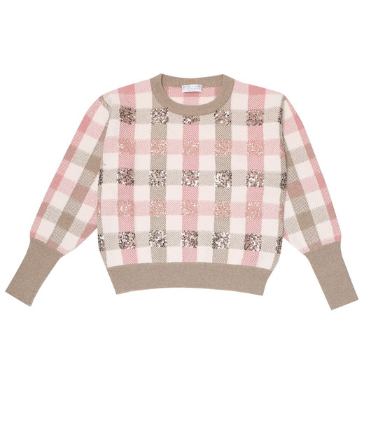 Brunello Cucinelli Kids Sequined wool-blend sweater in pink