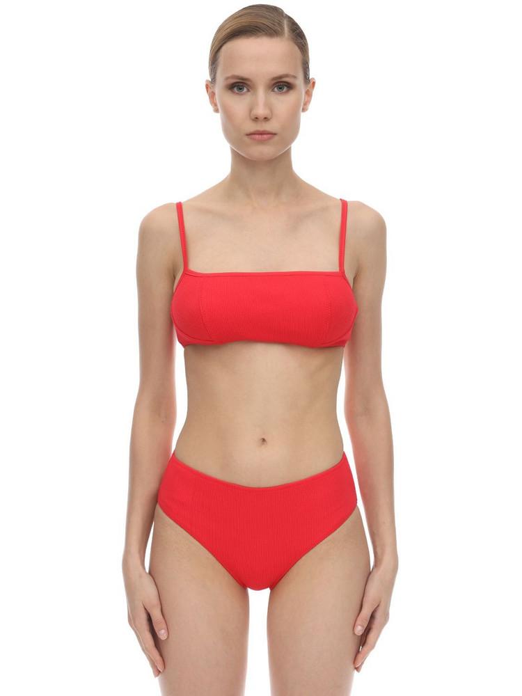 GANNI Textured Lace-up Bikini Top in red