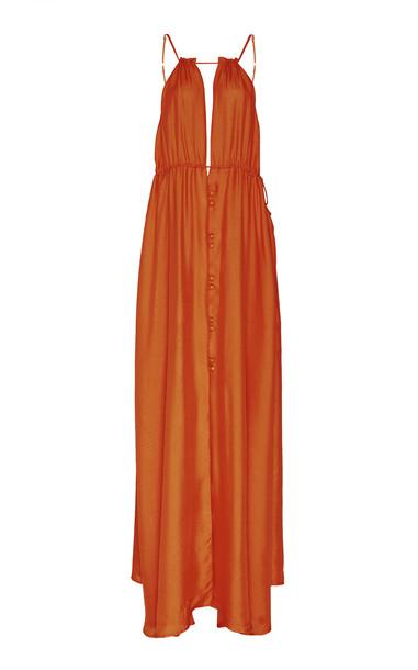 Cult Gaia Agatha Silk Maxi Dress in brown
