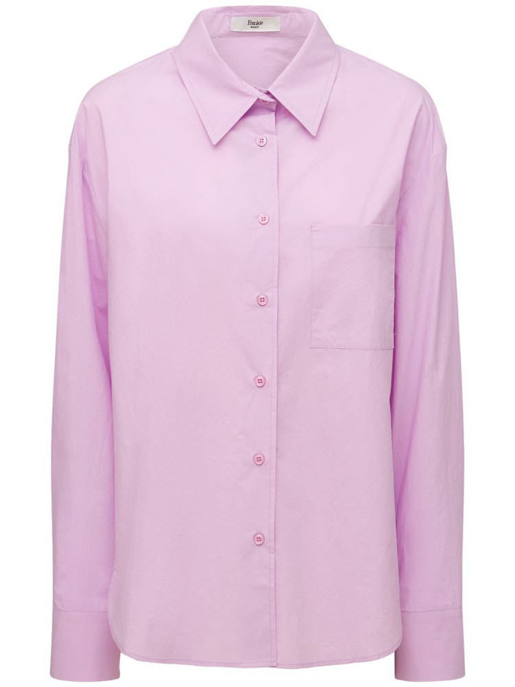 THE FRANKIE SHOP Lui Organic Cotton Poplin Shirt in lilac