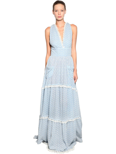 LUISA BECCARIA Long Cotton Eyelet Lace Dress in blue / white
