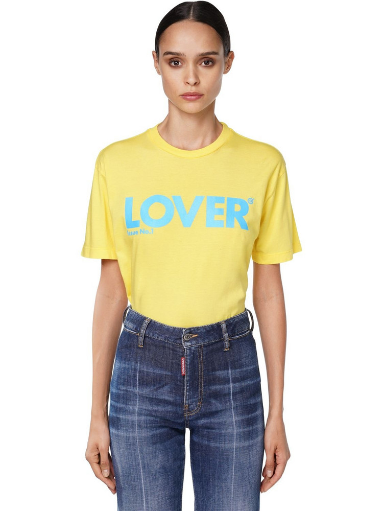 DSQUARED2 Oversize Logo Cotton Jersey T-shirt in blue / yellow