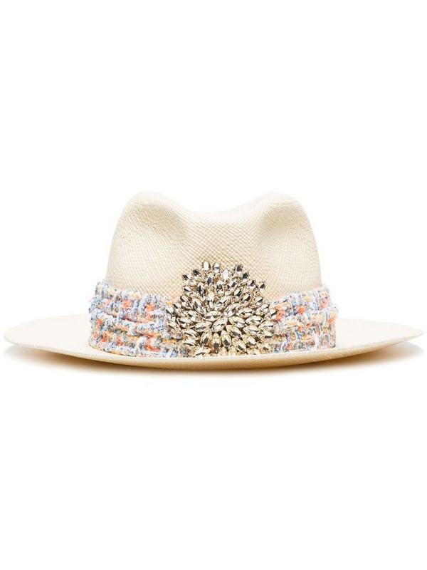 Maison Michel crystal-embellished appliqué fedora hat in neutrals