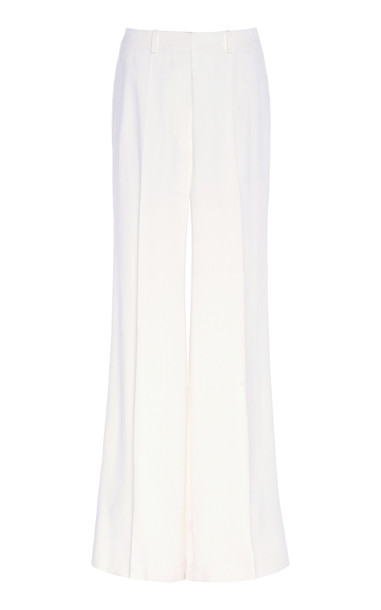 Victoria Beckham Wide-Leg Crepe Pants Size: 4 in white