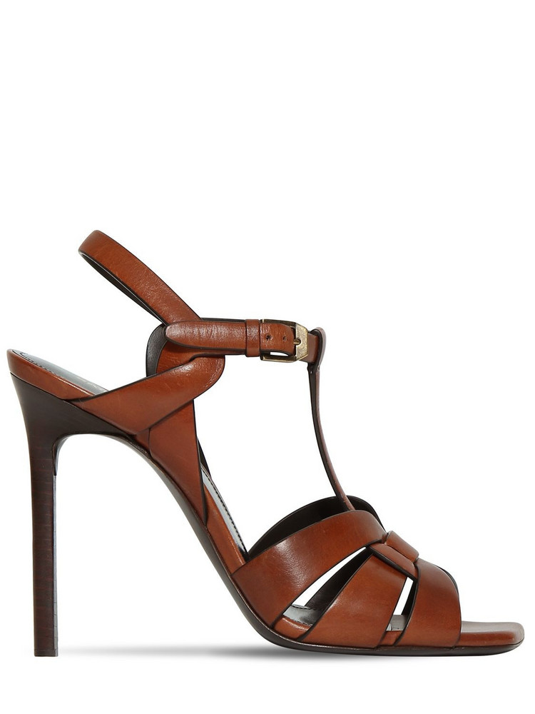 SAINT LAURENT 105mm Tribute Leather Sandals in tan