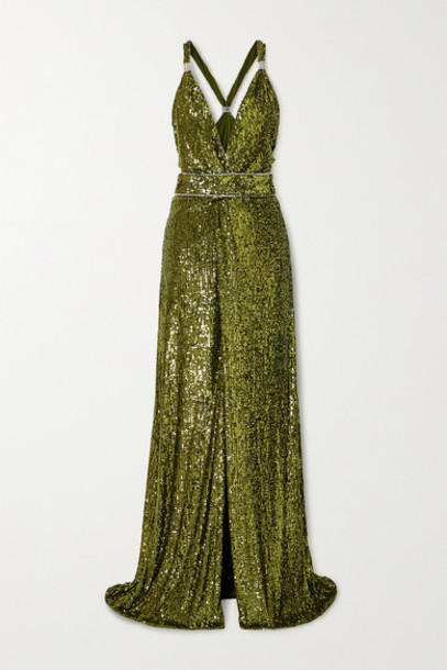 Dundas - Crystal-embellished Sequined Jersey Gown - Green