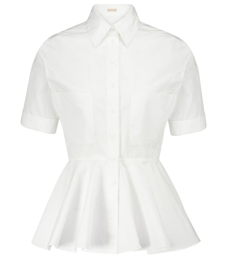 Alaïa Peplum cotton poplin shirt in white