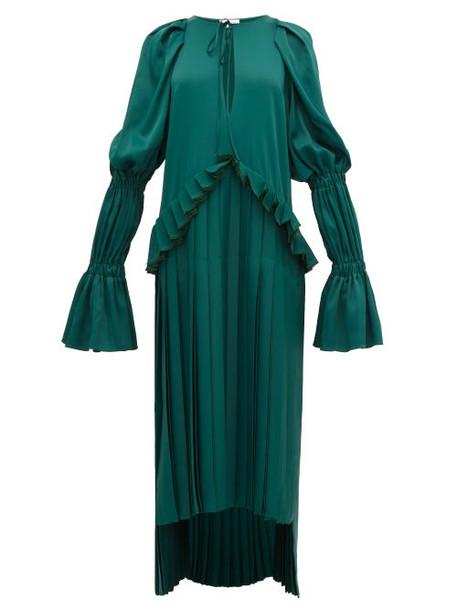 Khaite - Cara Pleated Stepped Hem Satin Dress - Womens - Green
