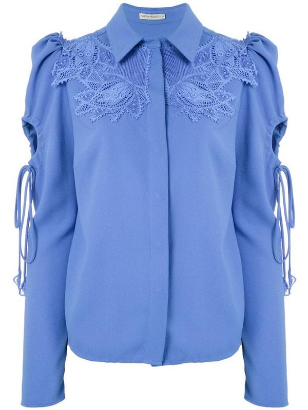 Martha Medeiros Dominique lace appliqué shirt in blue
