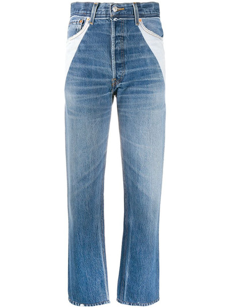 RE/DONE panelled straight leg jeans in blue