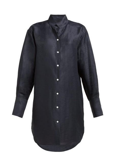Frame - Stand Collar Linen Blend Shirtdress - Womens - Navy