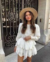 top,white blouse,long sleeves,lace,zara,ruffle,white skirt,mini skirt,sun hat